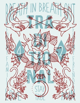 Poster alte schule tattoo