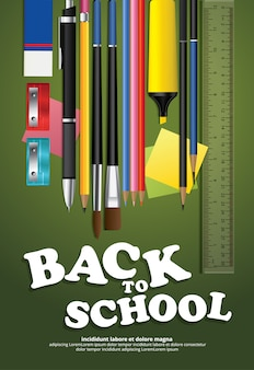 Poster back to school design vorlage illustration