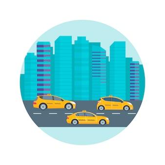 Poster, banner mit dem gelben taxi der maschine in der stadt. öffentliches taxi-service-konzept. stadtbild im hintergrund. flache vektorillustration.