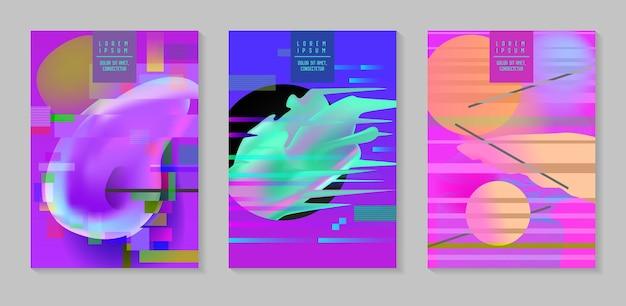 Poster, cover mit glitch-effekt und bauhaus fluid shapes. abstraktes futuristisches hipster-design-set für plakat, banner, flyer. vektor-illustration