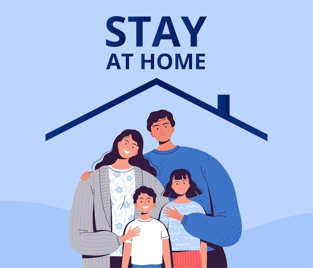 Poster, das sie auffordert, zu hause zu bleiben, um sich vor dem neuen coronavirus covid-2019 zu schützen. eine familie mit kindern sitzt zu hause in quarantäne. eben