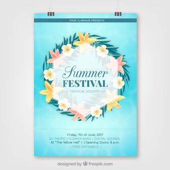Poster der sommerparty mit blumen