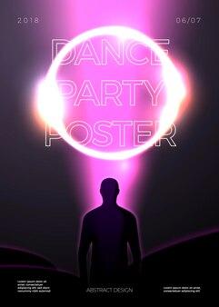 Poster-design-vorlage im futurismus-stil, mit hellem strahl und kreis und mann