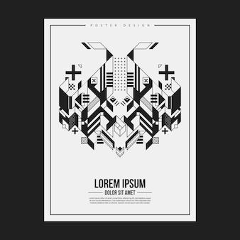 Poster / druck design-vorlage mit symmetrischen abstrakten element auf weißem hintergrund. nützlich für buch- und zeitschriftenabdeckungen.