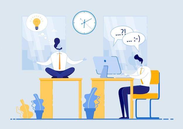 Poster erfolgreiche idee mit arbeitszeit flach. mann meditiert, während er am tisch im büro sitzt, neben guy arbeitet er hart am computer. der mitarbeiter verbringt zeit effizient und verschwendet sie nicht.