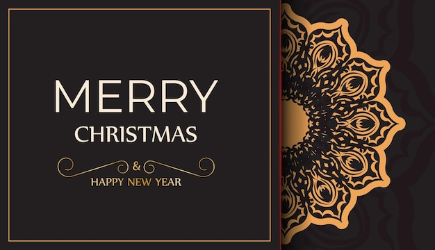 Poster frohes neues jahr und frohe weihnachten in schwarzer farbe mit wintermuster.