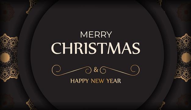 Poster frohes neues jahr und frohe weihnachten in schwarzer farbe mit winterverzierung.