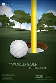 Poster golf champion template design illustration