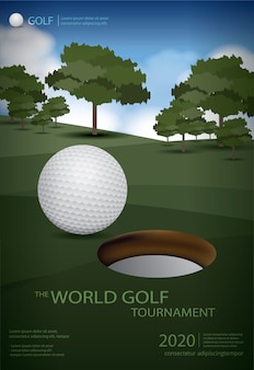 Poster golf champion template design vektor-illustration