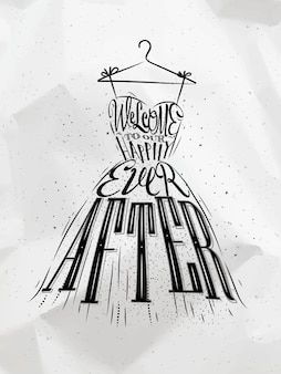 Poster hochzeitskleid schriftzug