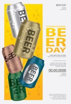Poster international beer day template design illustration