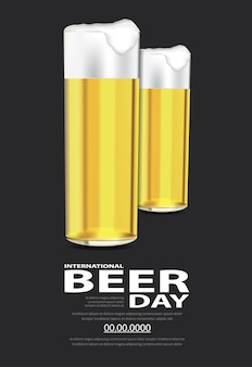 Poster international beer day template design illustration