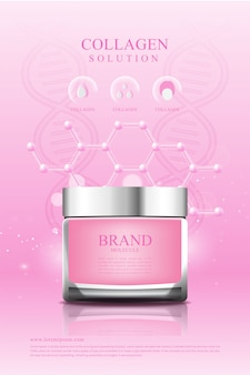 Poster kosmetik rosa creme kollagen serum