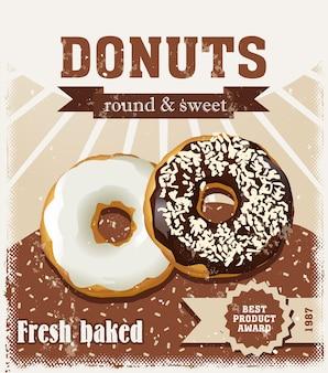 Poster mit donuts gemalt im vintage-stil