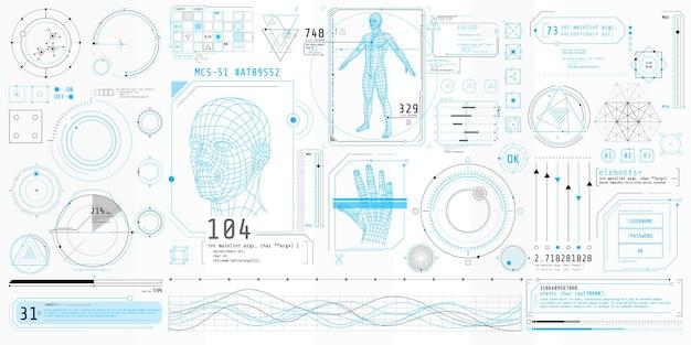 Poster mit einer reihe futuristischer hud-elemente zum thema bio scanning.