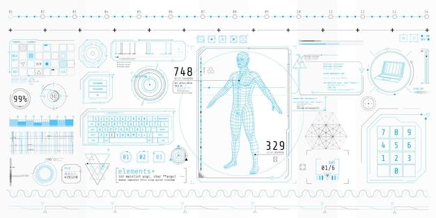 Poster mit einer reihe futuristischer hud-elemente zum thema data scanning.