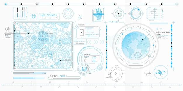 Poster mit einer reihe futuristischer hud-elemente zum thema geo location.