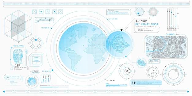 Poster mit einer reihe futuristischer hud-elemente zum thema planetary search.