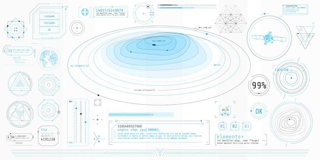 Poster mit einer reihe futuristischer hud-elemente zum thema topographie.