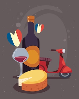 Poster mit französischen ikonen