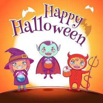 Poster mit kindern in kostümen von hexe, vampir und teufel für eine glückliche halloween-party. illustration auf orangem hintergrund mit vollmond. für poster, banner, flyer, einladungen, postkarten.