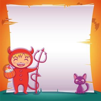 Poster mit kleinem teufel mit schwarzem kätzchen für happy halloween party. bearbeitbare vorlage mit textraum. für poster, banner, flyer, einladungen, postkarten.