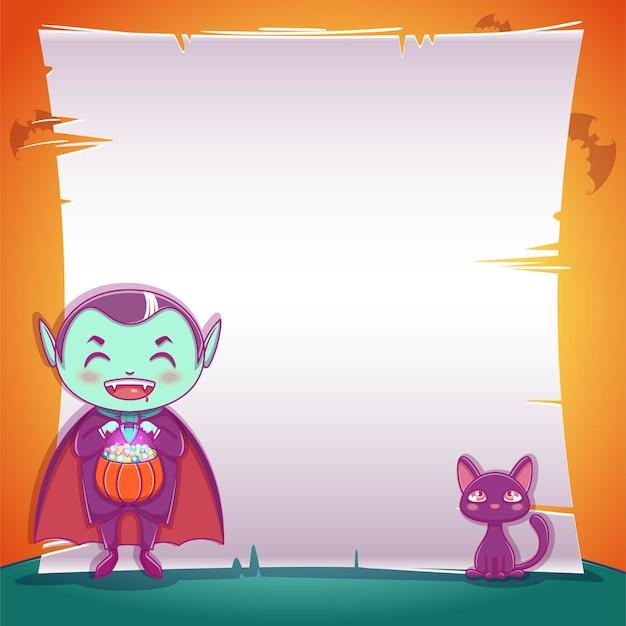 Poster mit kleinem vampir mit schwarzem kätzchen für happy halloween party. bearbeitbare vorlage mit textraum. für poster, banner, flyer, einladungen, postkarten.