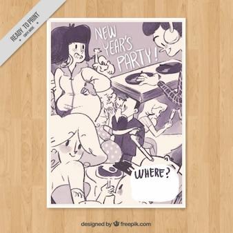 Poster mit schönen illustrationen für das neue jahr partei