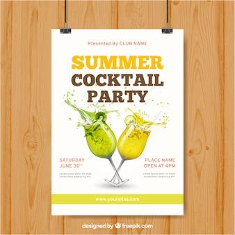 Poster mit sommergetränken für party