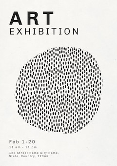 Poster mit tintenpinselmuster für kunstausstellung
