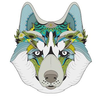 Poster mit zenart gemusterten husky