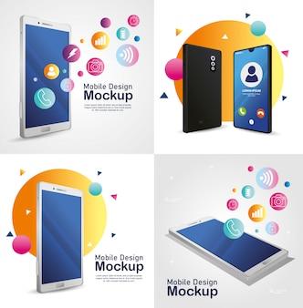 Poster mobile design modell, realistische smartphones geräte