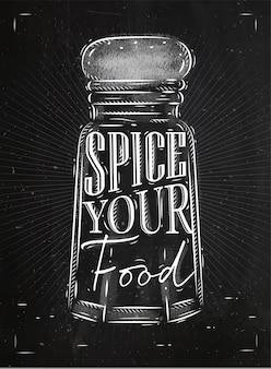 Poster pfeffer castor gewürz schriftzug gewürz ihr essen, kreide