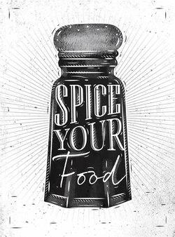 Poster pfeffer gewürzrolle schriftzug gewürz ihr essen