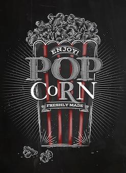 Poster popcorn schwarz