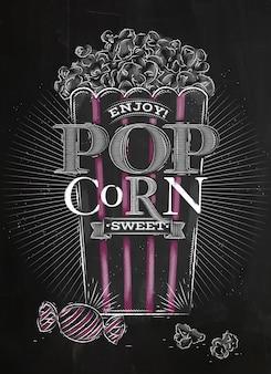 Poster popcorn süß schwarz