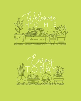 Poster schriftzug willkommen zu hause, genießen sie heute grün