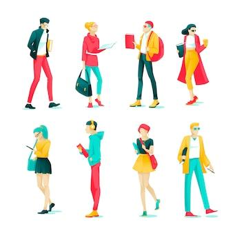 Poster set charakter studenten und jugendliche flach