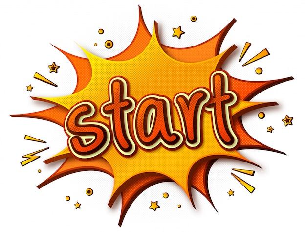 Poster starten. gedankenblase und soundeffekte. gelb-orange cartoon-sprechblasen im pop-art-stil