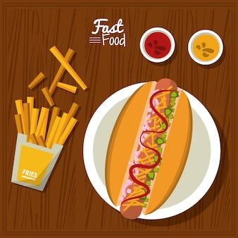 Poster-teller mit hotdog und saucen und pommes frites