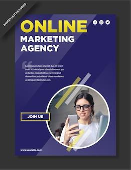 Poster und flyer-design der digitalen marketingagentur mit blauem hintergrund