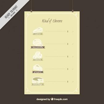 Poster von hand gezeichnet käse