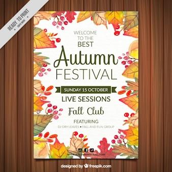 Poster von mid-autumn festival mit dekorativen blättern