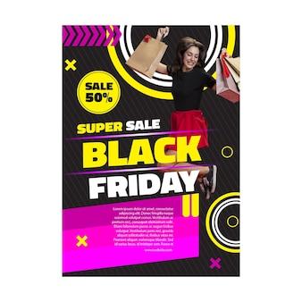 Poster-vorlage weibliches modell schwarzer freitag