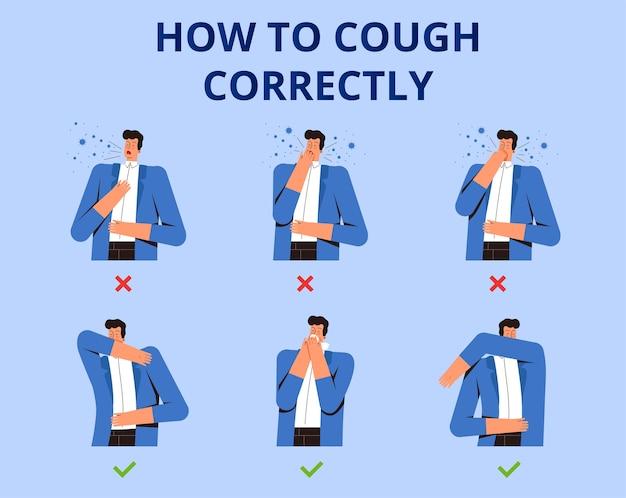 Poster wie man richtig hustet. posen und hustenmethoden, um viren und bakterien nicht zu verbreiten. schutz gegen das neue coronavirus 2019-ncov. eben