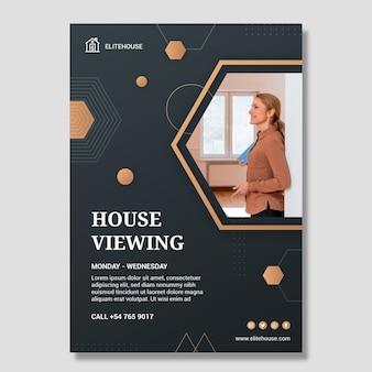 Poster zur besichtigung des immobilienhauses