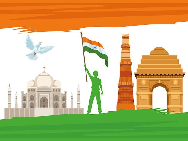 Poster zur unabhängigkeit indiens india