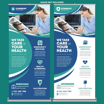 Posterdruckvorlage für medizinische dienste im flachen design-stil