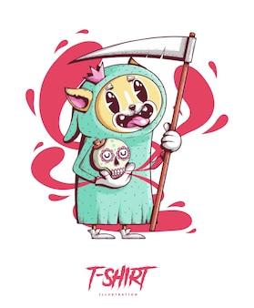 Posterkarte oder t-shirt print mit hund mit sense und totenkopf in der hand trendiger hipster style