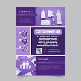 Postervorlage für coronavirus-medizinprodukte mit foto